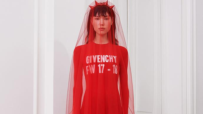 """Riccardo Tisci presented an all-red autumn/winter 2017 collection at Paris fashion week, which we can't help but wonder might be a nod of support to the <a href=""""http://www.elle.com.au/news/zeitgeist/2017/3/how-to-join-in-a-day-without-woman-australia/"""">#ADayWithoutAWoman</a> movement. See for yourself."""