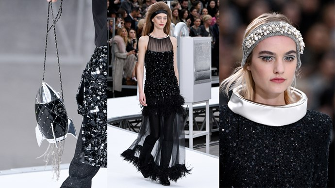 <p>In front of a literal space rocket set in the middle of the Grand Palais, Karl Lagerfeld showed mod-inspired shifts, Barbarella-bouffants, rocket- and planet-shaped minaudières, and astronaut-print dresses for Chanel's autumn/winter show.