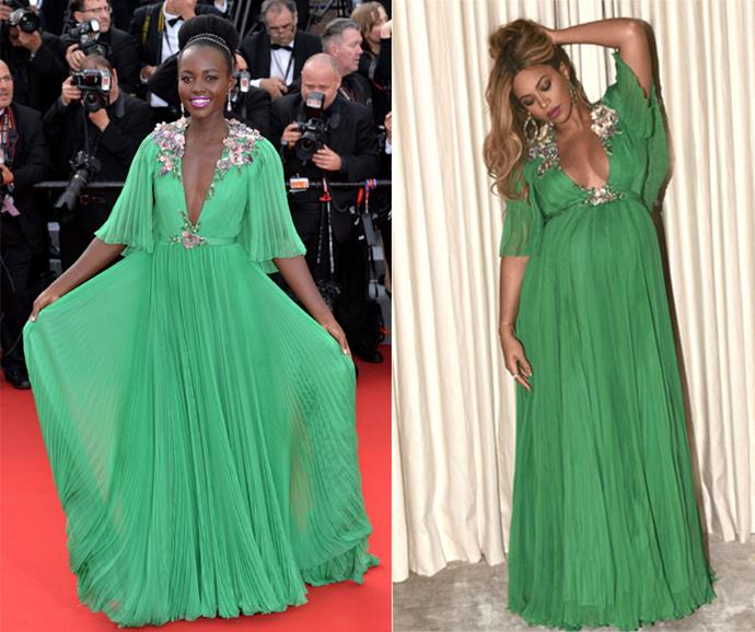 **Lupita Nyong'o and Beyoncé Knowles-Carter** <br><br> If you thought the stunning jade Gucci number Beyoncé wore to the <em>Beauty And The Beast</em> premiere looked familiar, there's a good reason for it. Throw back to Cannes Film Festival in 2015 and Lupita Nyong'o wore the exact same dress. Question is, who wore it better?