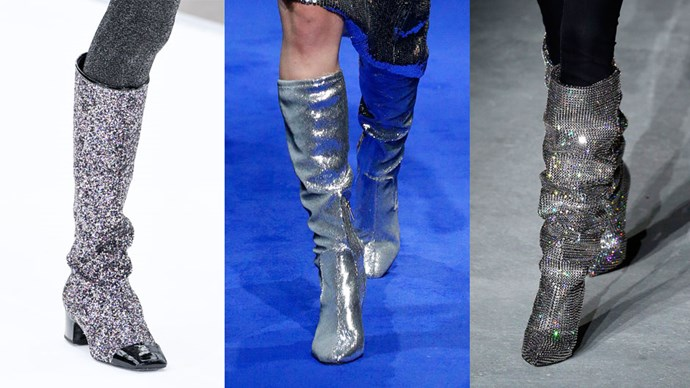 Designers continued to put their flashiest foot forward at fashion month, this time, in the form of bedazzled boots. From Chanel and Saint Laurent to Isabel Marant and onto Osman, each show celebrated '80s extravagance with the return of disco-worthy boots that practically beg to dance the night away into the early hours of the morning. Here, <em>ELLE</em> rounds up all the most-noteworthy, sparkliest styles from the shows.