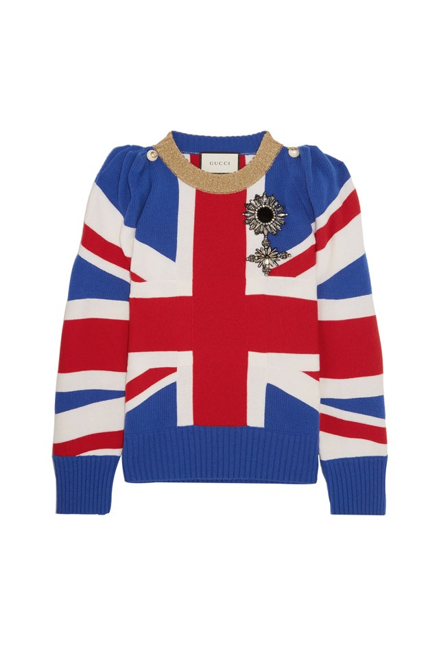 "<p> <strong>This Union Jack sweater, $3,565.</strong> <p> For when her mother plays London's Wembley Stadium. <p> Sweater, $3,565 <a href=""https://www.net-a-porter.com/au/en/product/803155/Gucci/union-jack-embellished-wool-sweater"">Gucci at net-a-porter.com</a>"