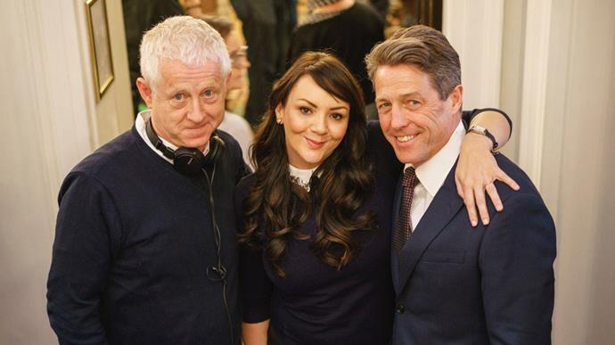 "<p>Director Richard Curtis with <a href=""https://twitter.com/emmafreud/status/838397001997877250"">Martine McCutcheon and Hugh Grant</a>."