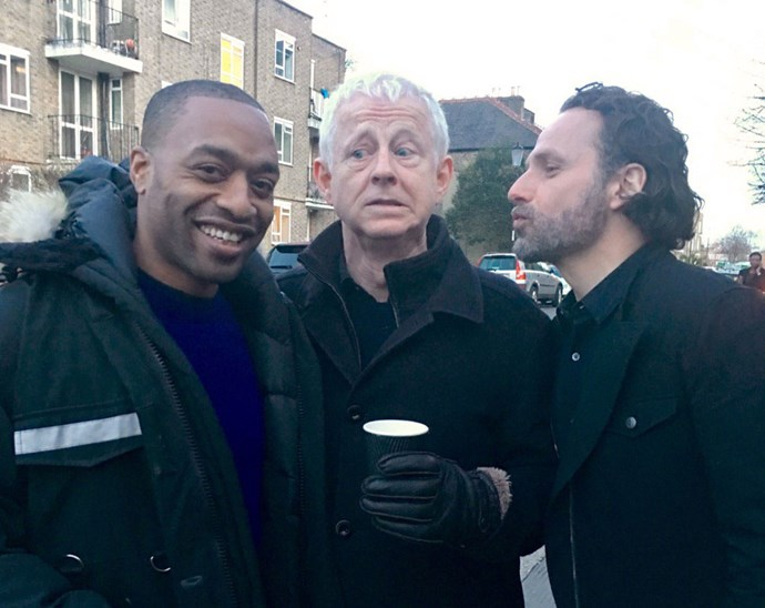 """<p>Chiwetel Ejiofor, Richard Curtis and Andrew Lincoln <a href=""""https://twitter.com/emmafreud/status/839392586024562692"""">on the set</a>."""