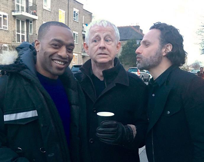 "<p>Chiwetel Ejiofor, Richard Curtis and Andrew Lincoln <a href=""https://twitter.com/emmafreud/status/839392586024562692"">on the set</a>."