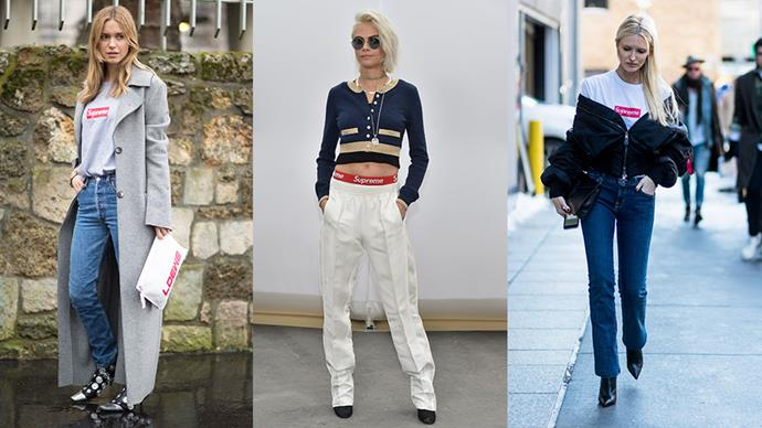 Cara Delevingne, Pernille Teisbaek and a slew of street style stars are among the fashion girls obsessed with cult skate label Supreme. Here, photographic evidence that you should be too.