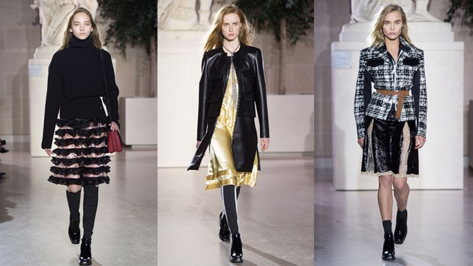 <p><em>Louis Vuitton</em><p> Not many brands, luxury or not, could convince The Louvre to lay open its spectacular glass-roofed sculpture gallery, the Cour Marly, for a fashion show. But Louis Vuitton isn't just any French fashion house, and this wasn't just any fashion show. The  frontier-busting collection saw luxe nomads walk beneath the centuries-old sculptures in a jolt of modernity that could easily have walked straight out onto the street, cropped flares and all.
