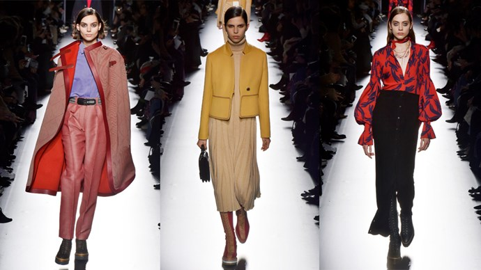<p><em>Hermès</em><p> Most would be familiar with Hermès' equestrian heritage, but it's the modern spin creative director Nadége Vanhee-Cybulski is putting on the timeless classics that really has us excited for the cool weather to set in. Horse blankets, generous capes and maxi-coats, reworked in beautiful shades of cream, caramel and beige, are enough to make us want to look up our local riding school.