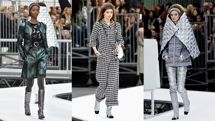 <p><em>Chanel</em><p> Another mind-blowing show from Chanel, literally. This one threatened to blow us into another stratosphere, via rocket ship. Karl Lagerfeld's imagination knows no bounds and these silvery space blanket wraps (our latest quilted obsession), along with these strides, fingerless gloves and glittery boots, just go to show that whatever he touches turns to silver.