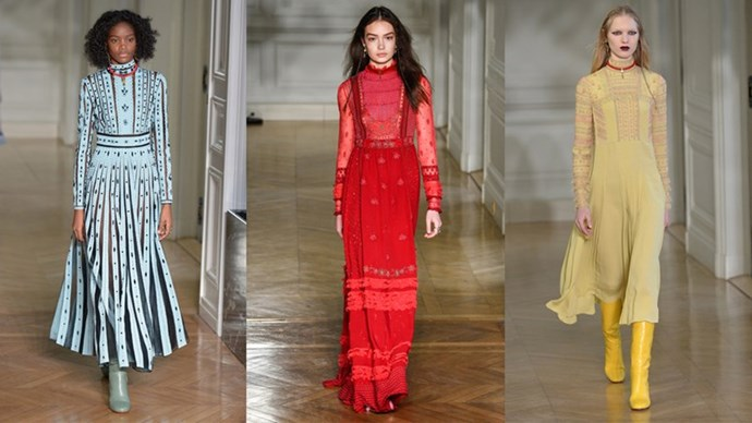 <p><em>Valentino</em><p> Valentino's Pierpaolo Piccioli's served up a collection of the kind of dresses few of us have regular cause to wear but would still consider giving our firstborn to own. We're daydreaming of course, which we're well within our rights to do considering his vision is all about fantasy. Wearing this to a ball or sashaying around the living room, glass of wine in hand, on a Saturday night—either way it's the kind of exquisite escape only floor-length embellished velvet can deliver. The shoes hidden underneath? Hello, reality.