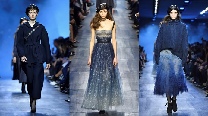 <p><em>Christian Dior</em><p> Playing out in every conceivable shade of navy, Maria Grazia Chiuri's progressive collection featured double denim, guitar-strap body-slung bags and a host of Rihanna-approved leather berets. This is Dior for a new generation and we like it.
