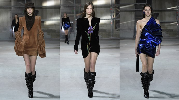 <p><em>Saint Laurent</em><p> Anthony Vaccarello may be forging forward into the future at Saint Laurent, but he still took time on his AW17 runway to pay homage to Monsieur Saint Laurent with a micro-mini black dress embroidered with a single purple flower, a design imagined by the house founder way back when. Charging through the wind and rain on a chilly night in Paris, it was perfect emblem to represent the strength of the women the next-gen designer draws inspiration from—Charlotte Gainsbourg, Zoe Kravitz, Eva Herzigova and Anja Rubik among them.