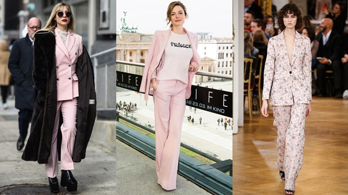A new trend emerging out of the combined Hollywood and fashion world set has turned our minds to another would-be staple: the humble pink suit.