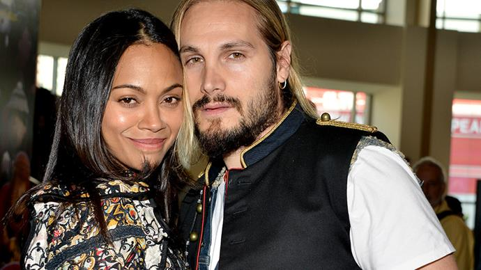 **Zoe Saldana and Marco Perego** <br><br> Zoe and Marco married in a secret London ceremony in 2013. They have three sons together, twins Bowie and Cy, and another, Zen.