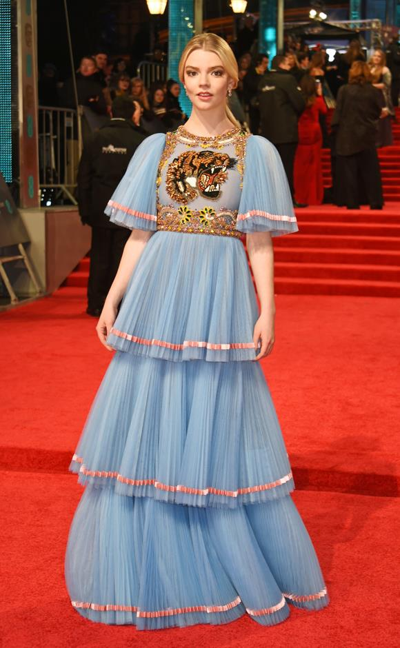 In blue Gucci at the 2017 BAFTAs.