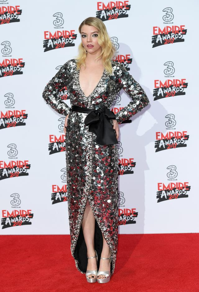 Anya wore this sparkling silver Miu Miu gown to the Empire Awards this week.