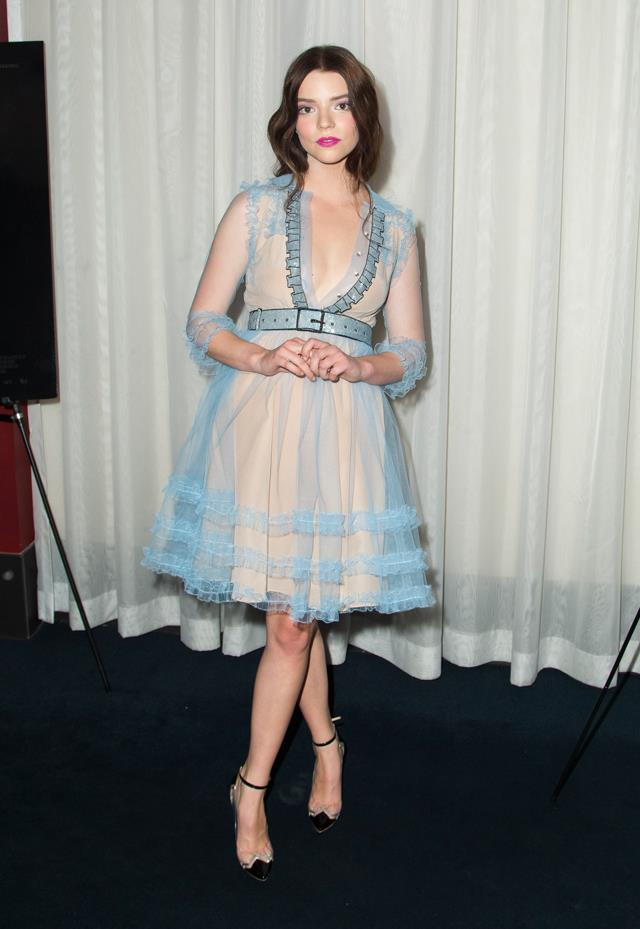 In ice-blue Gucci at the premiere of <em>The Witch</em>.