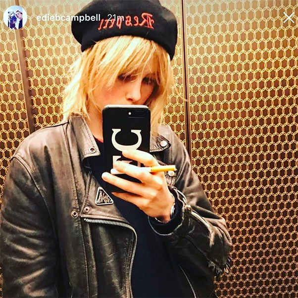 """<p><strong>Edie Campbell</strong> <p>Instagram: <a href=""""https://www.instagram.com/chaos/"""">@chaos</a>"""