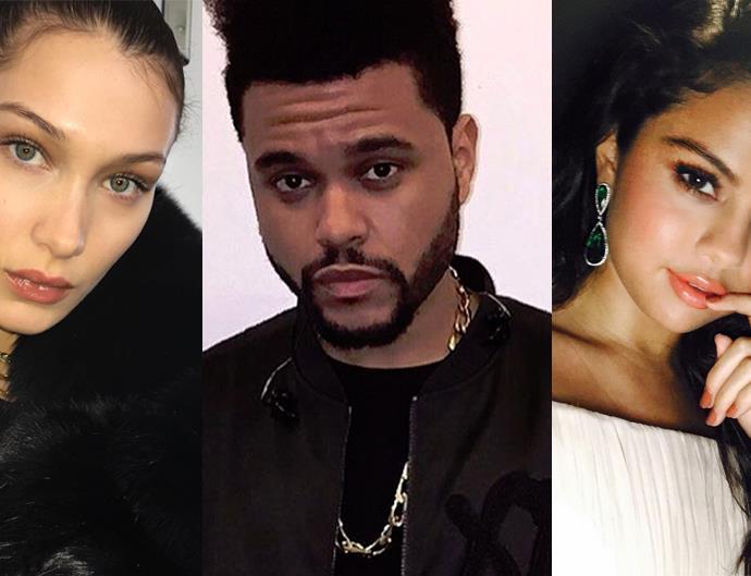 Bella Hadid, The Weeknd and Selena Gomez.