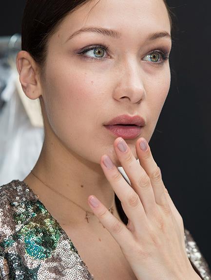 bella hadid backstage makeup