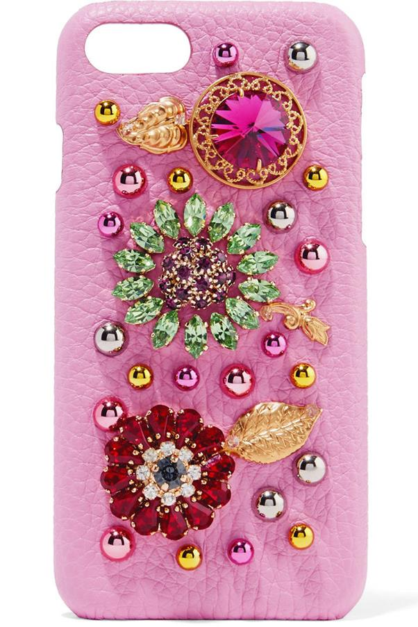 """<strong>Dolce & Gabbana</strong> <p><p>D & G have have also upped the ante with their jewelled encrusted cases, some of which boast Iguana-effect leather - aka, pure luxury. <p><p> From chic and simple to colourful creations, they have a case to suit everyone... it will just set you back a cool <a href=""""http://store.dolcegabbana.com/en/women/accessories/hi-tech-accessories/iphone-6-plus-cover-in-iguana-effect-leather-with-crystals-black-BI0819AD57280999.html?cgid=women-accessories-tech#start=23"""">$1.450 AUD</a>."""