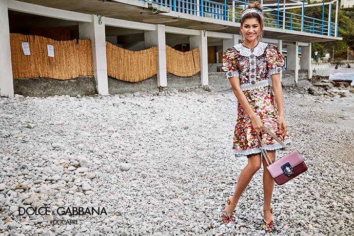 <p><em>Zendaya for Dolce & Gabbana</em><p> With her name (and voice) on the rise, it was only a matter of time until a fashion house snapped up Zendaya. And Dolce & Gabbana's fun and flirty vibe was the perfect match.