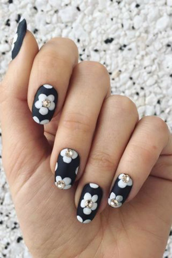 "<strong>Embellished Flowers.</strong> <p><p> For a textured floral nail, this design mixes matte polish, regular polish, and embellishments. Start with a matte base. Let it dry and then paint flower petals in a glossy hue. Finish the nail with crystal accents glued to the center of each flower. <p><p> Design by <a href=""https://www.instagram.com/p/BC_DlewkLUO/"">@jessicawashick</a>"