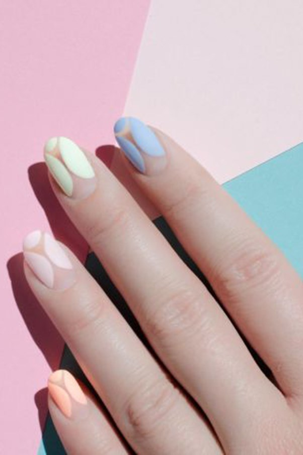 "Matte Pastel. <p><p> On the opposite side of the color spectrum is the matte pastel, seen here in a negative nail design. <p><p> Design by <a href=""https://www.instagram.com/p/BDNFGAxyBBf/"">@palemoonseattle</a>"