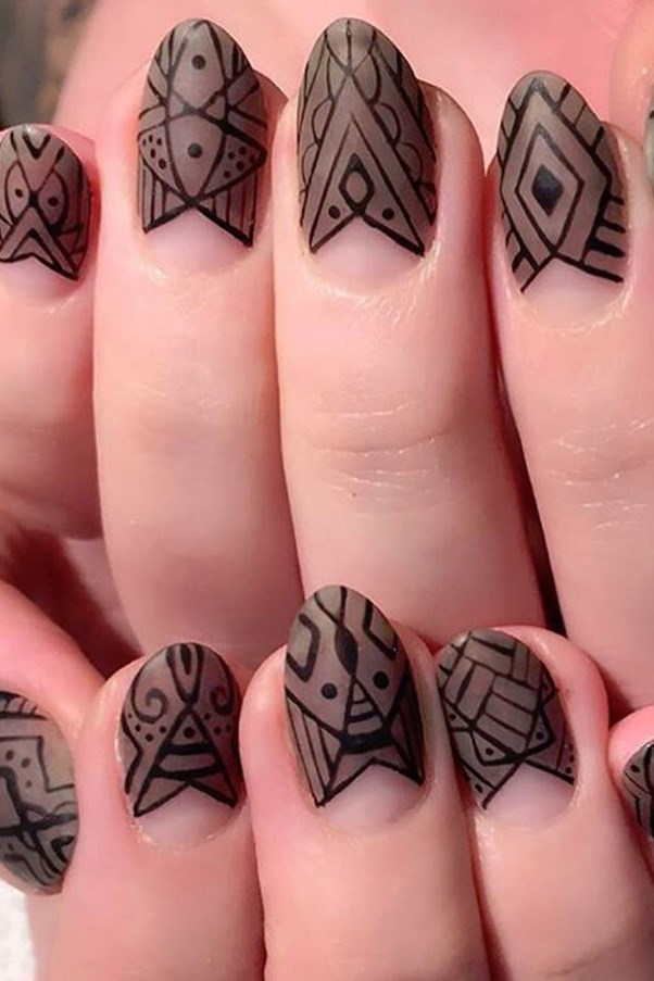 "<strong>Graphic Aztec Inspired.</strong> <p><p> Tape off your half moon in a triangle shape. Paint a taupe matte polish and let dry. Use a thin brush to add linear details. <p><p> Design by <a href=""https://www.instagram.com/p/BHUboYAhdef/"">@vanityprojects</a>"