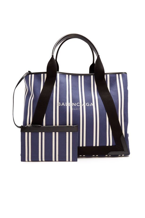 "Bag, $1,550, Balenciaga at <a href=""http://www.matchesfashion.com/au/products/Balenciaga-Navy-Cabas-M-cotton-canvas-tote-bag--1079789"">Matches Fashion</a>"