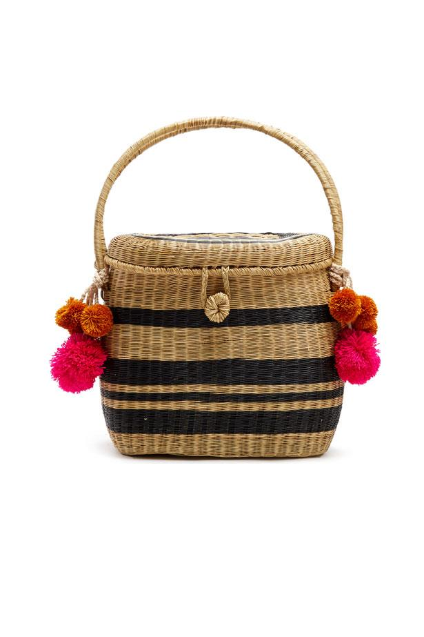 "Bag, $312, Sophie Anderson at <a href=""http://www.matchesfashion.com/au/products/Sophie-Anderson-Cinto-striped-wicker-basket-bag-1094429"">Matches Fashion</a>"
