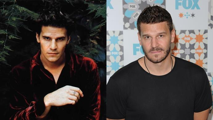 <p><em>David Boreanaz as Angel </em><p> Ah, our dark and brooding Angel, who was responsible for a lot of young girls' and boys' first crushes. David just wrapped up filming <em>Bones</em>, which he has been on for 12 years.