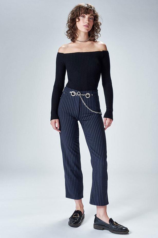 """Tommy Trousers, $425 (approx) from <a href=""""https://miaouxx.com/collections/denim/products/brigitte-jean-pinstripe"""">Miaou</a>"""
