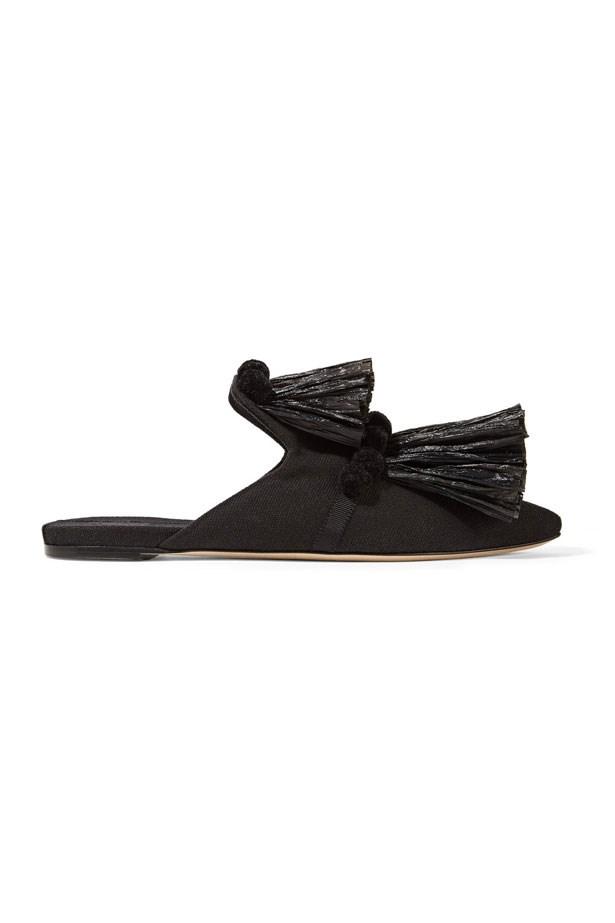 "Flats, $833, Sanayi 313 at <a href=""https://www.net-a-porter.com/au/en/product/809048/sanayi313/raffia-pom-pom-canvas-slippers"">Net-A-Porter</a>"