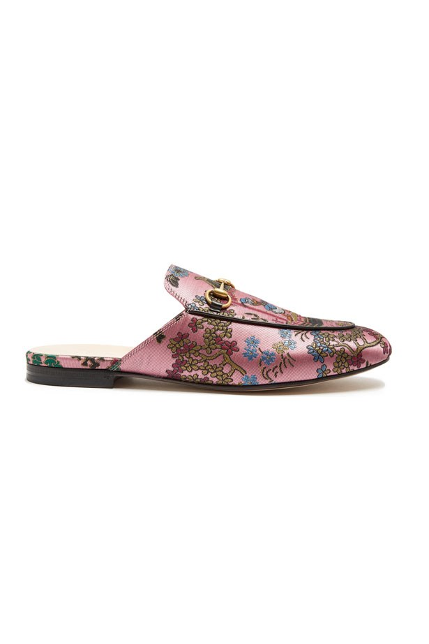 """Flats, $770, Gucci at <a href=""""http://www.matchesfashion.com/products/Gucci-Princetown-jacquard-backless-loafers-1096004"""">Matches Fashion</a>"""
