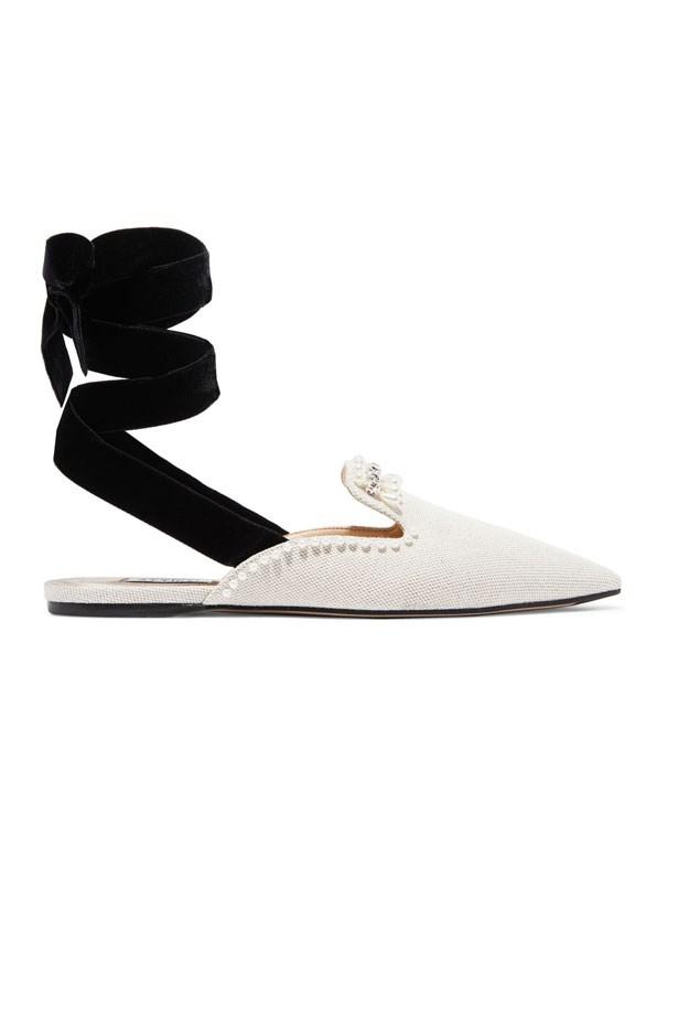"Flats, $965, Attico at <a href=""https://www.net-a-porter.com/au/en/product/864579/attico/elena-embellished-canvas-slippers"">Net-A-Porter</a>"