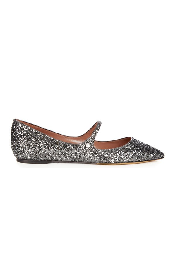 """Flats, $619, Tabitha Simmons at <a href=""""http://www.matchesfashion.com/au/products/Tabitha-Simmons-Hermione-point-toe-glitter-flats-1073738"""">Matches Fashion</a>"""