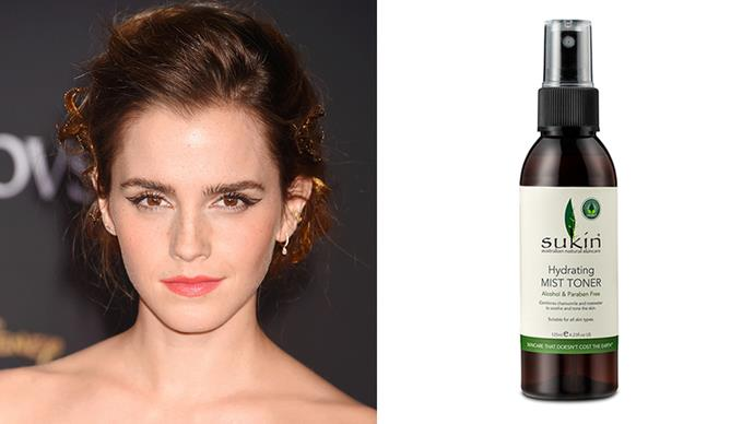 "<strong>Emma Watson</strong> <br> <br> Breaking down her look from the final day of the London <em>Beauty and the Beast </em>press tour, Emma revealed she's a big fan of Sukin skincare products, the toner in particular. <br> <br>   ""Sukin are an Australian brand committed to offsetting their carbon emission through a clean energy biomass project in India,"" she wrote to her Insta followers. <br> <br> This spritz is a godsend on sticky days. <br> <br>   *Sukin Hydrating Mist Toner, $10.99, at [Priceline](https://www.priceline.com.au/sukin-hydrating-mist-toner-125-ml