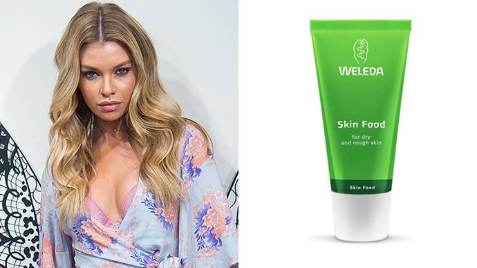 "<strong>Stella Maxwell</strong> <br> <br> In an interview with *<a href=""http://stylecaster.com/beauty/stella-maxwell-skin-care/"">StyleCaster</a>*, the Victoria's Secret Model revealed her skin is quite dry, so she likes to use an intensely hydrating formula morning and night. We did not expect her to list this affordable, all-natural prod as her daily skin savior. <br> <br>   *Weleda Skin Food, $24.95 at [Priceline](https://www.priceline.com.au/weleda-skin-food-75-ml