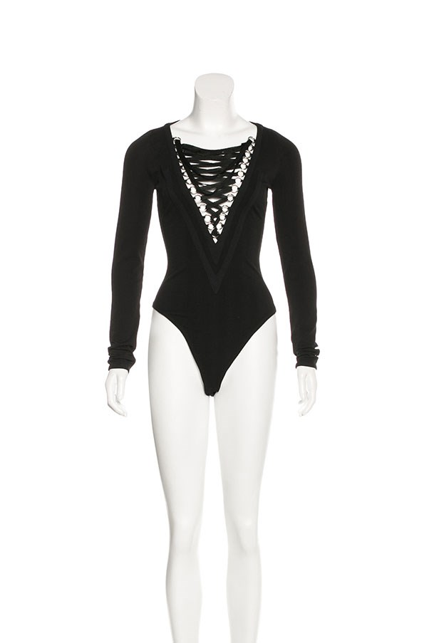 "Bodysuit by Givenchy, $1,042 at <a href=""https://www.therealreal.com/products/women/clothing/jumpsuits-and-rompers/givenchy-spring-2015-lace-up-bodysuit"">The Real Real</a>."