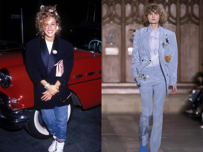 <p><strong>Oversized Blazers</strong><p> Blazers never really went out of style, but SJP's particular brand of 'is it a blazer, or is it a dress?' styling did. We think it's time to bring it back (this time, not paired with a perm).