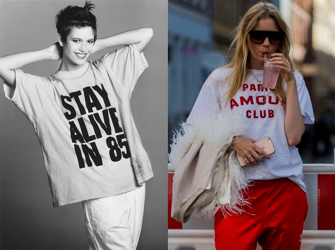 <p><strong>Say It Loud</strong><p> The '80s were all about saying something and saying it loud, which is why the slogan tee was the perfect must-have item. Nowadays, they can be pared down a little more.