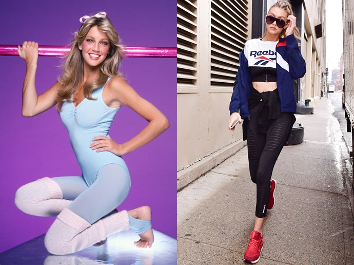 <p><strong>Sporty Inside And Out</strong><p> Tights and leotards? No. Sporty sneakers and bombers? That's more like it.