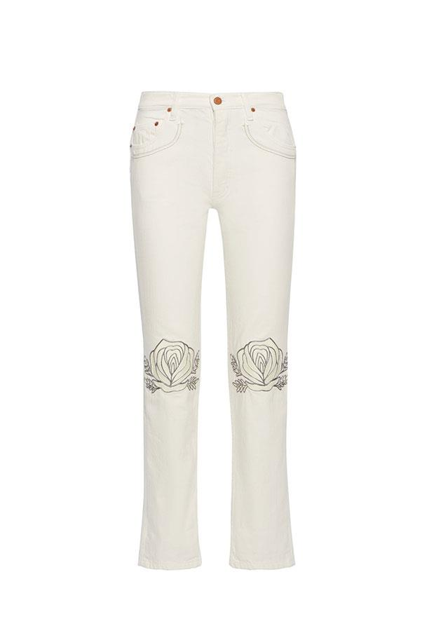 """<p><strong>Bliss and Mischief</strong> <p>Gucci are leading the pack in embellished denim, but if you don't have $2,000-odd to splurge on a skirt, Bliss and Mischief is your new best friend. <p><strong>Buy:</strong> Straight leg jeans by Bliss and Mischief, $636 at <a href=""""https://www.net-a-porter.com/au/en/product/818724/Bliss_and_Mischief/song-of-the-west-embroidered-straight-leg-jeans"""">Net-a-porter.com</a>"""