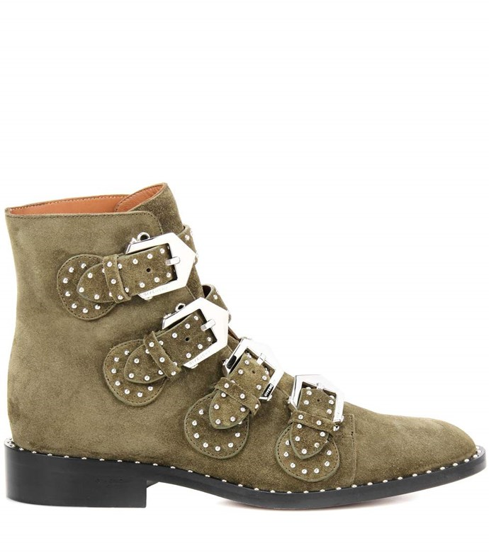 "Boots, $2,150, Givenchy at <a href=""http://www.mytheresa.com/en-au/000793-elegant-embellished-suede-boots-768281.html?catref=category"">MyTheresa</a>"