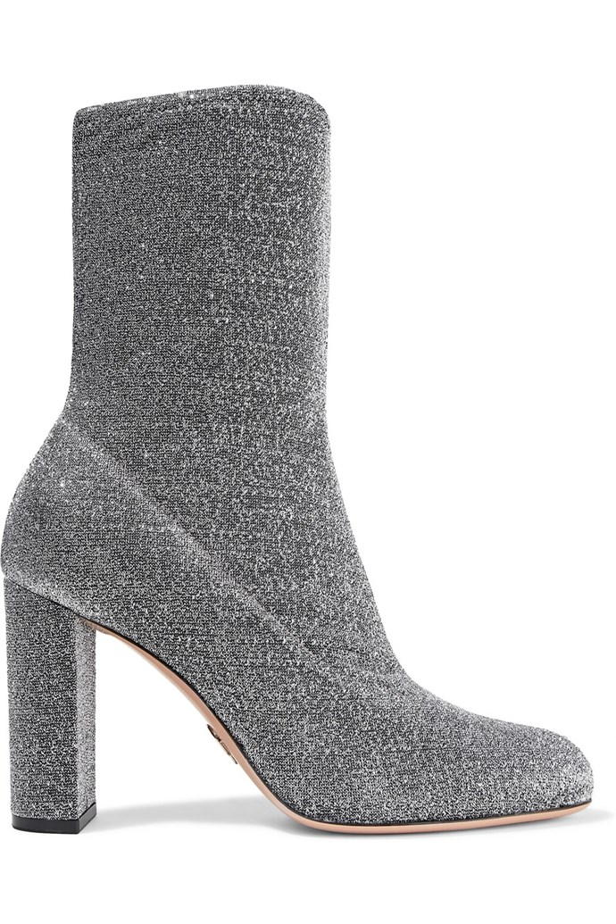 "Boots, $724, Oscar Tiye at <a href=""https://www.net-a-porter.com/au/en/product/815520/oscar_tiye/giorgia-textured-lame-boots"">Net-A-Porter</a>"