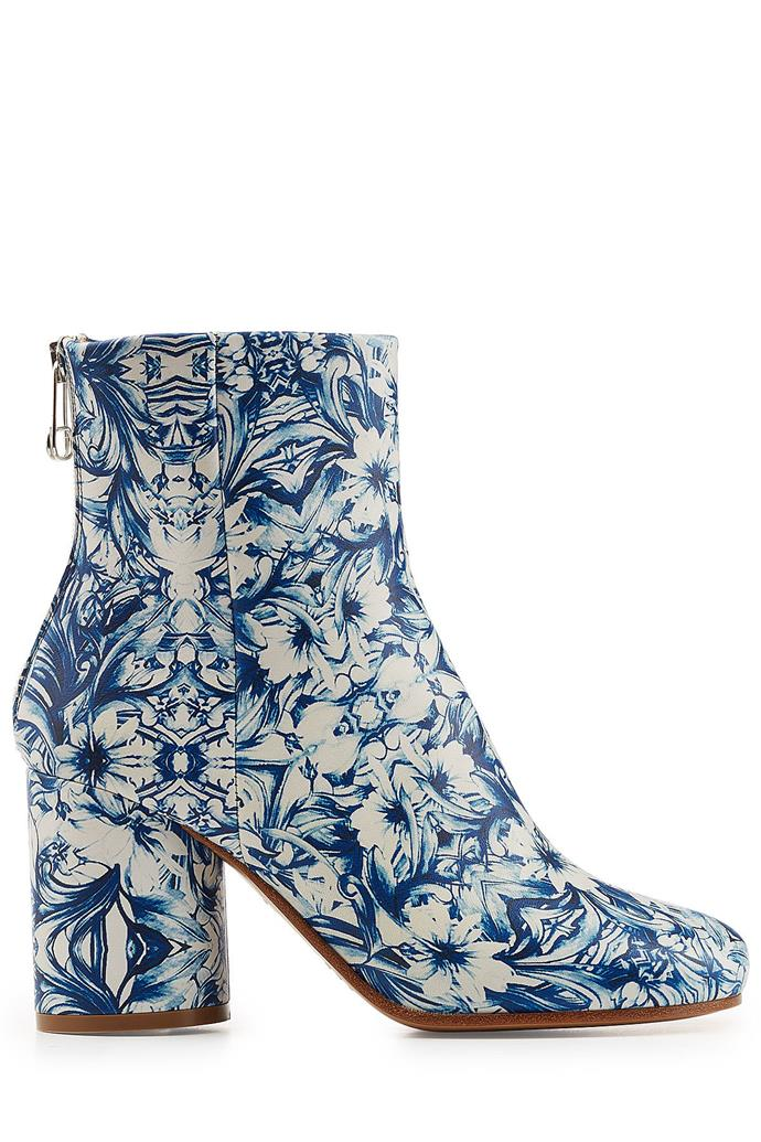 "Boots, $874 (approx.), Maison Margiela at <a href=""https://www.stylebop.com/en-au/women/printed-leather-ankle-boots-268602.html"">Stylebop</a>"
