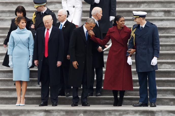 <p>This photo showed the stark contrast between Melania and Donald compared to the very affectionate Barack and Michelle.