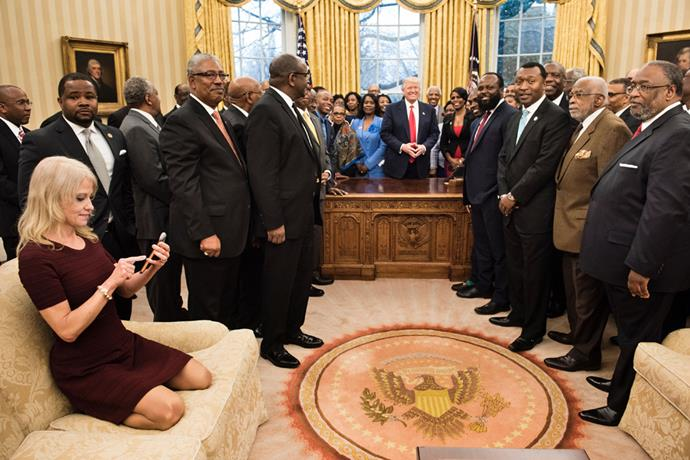 """<p><a href=""""http://www.independent.co.uk/news/world/americas/kellyanne-conway-oval-office-sofa-feet-us-president-black-colleges-university-white-hous-a7604976.html"""">Kellyanne Conway said</a> she """"meant no disrespect"""" by having her feet on the furniture, and sitting in this inappropriate position, when this photo of her in the Oval Office drew mass criticism."""