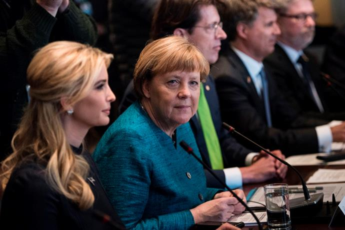 <p>Ivanka Trump came under fire again when this photo of her sitting next to German Chancellor Angela Merkel was released, as many people questioned why Ivanka was being seated next to foreign leaders, let alone allowed in the meetings.