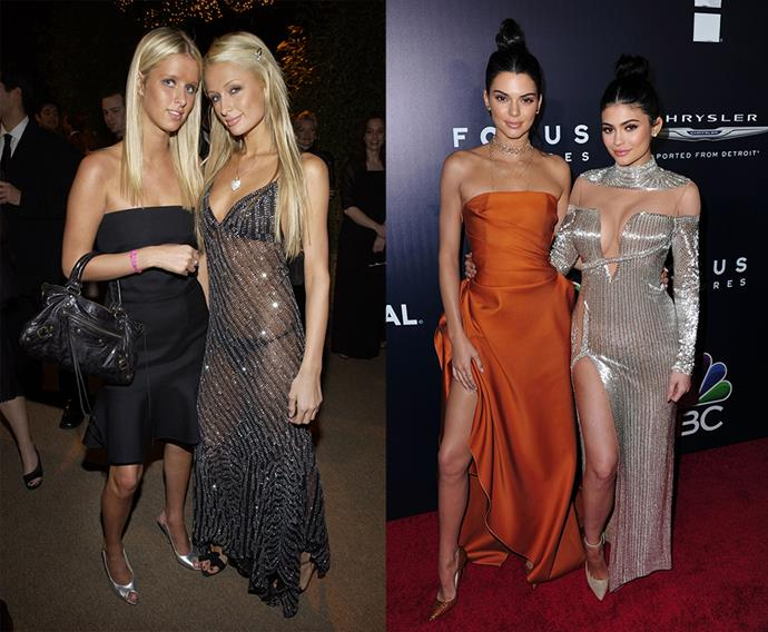 <p>From career mirroring to life trajectories repeating themselves, here are the girls of our day who have found themselves echoing a time gone by.<p> <strong>Paris and Nicky Hilton / Kylie and Kendall Jenner</strong><p> Even though <em>The Simple Life</em> and <em>Keeping Up With The Kardashians</em> technically intersected—Kim K being the link—it seems Kylie and Kendall took over the young, popular and rich sisters mantle from Paris and Nicky Hilton. Both coming from super rich families and both being the stars of their own reality TV shows, the past seems to be repeating itself a little. However, despite their real ages, we think Kylie would be Paris (reality star, high profile relationships, catchphrases, etc), while Kendall is the low-key, chill sister, Nicky.